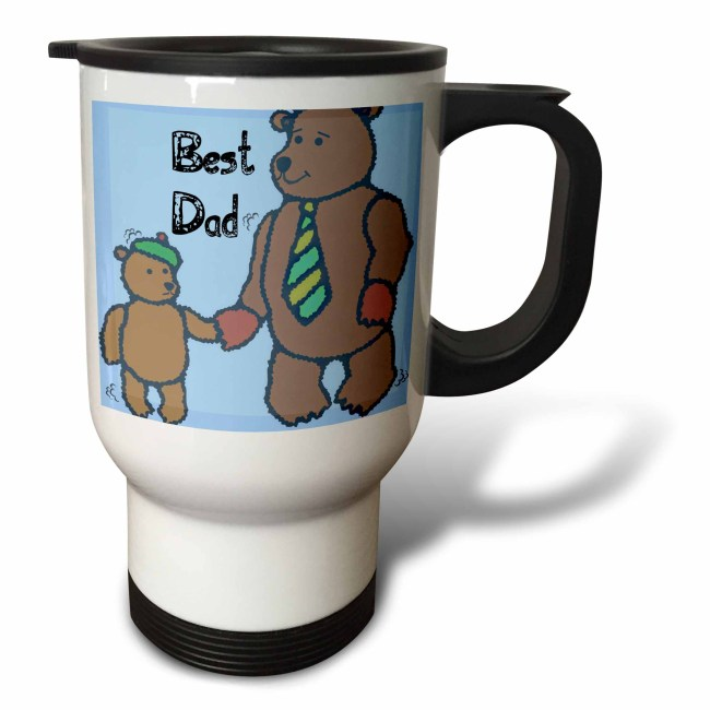 3dRose Best Dad Bears - Fathers Day - Cute Art, Travel Mug, 14oz, Stainless Steel