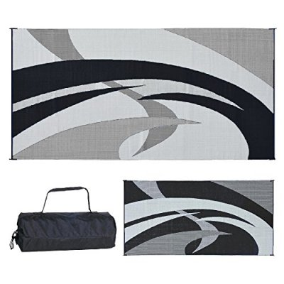 Reversible Mats Outdoor Patio/RV Camping Mat - Swirl (Black/White, 9-Feet x 18-Feet)