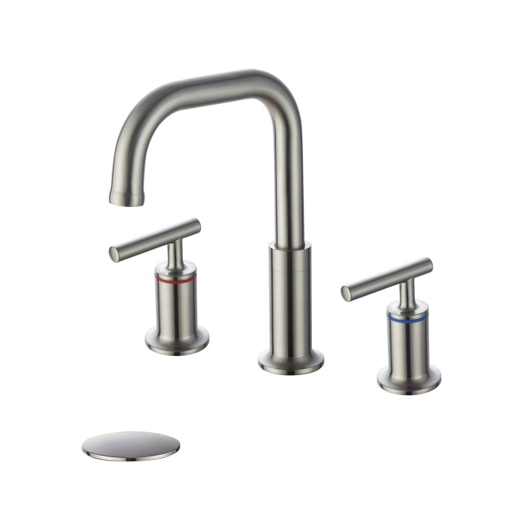 homelody widespread bathroom faucet brushed nickel 360 degree swivel spout 2 handles 8 inch bathroom sink faucet with pop up drain walmart com