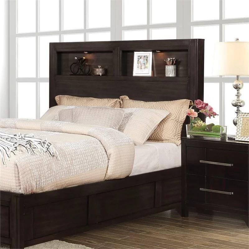 furniture of america jesson wood queen bookcase headboard in espresso walmart com