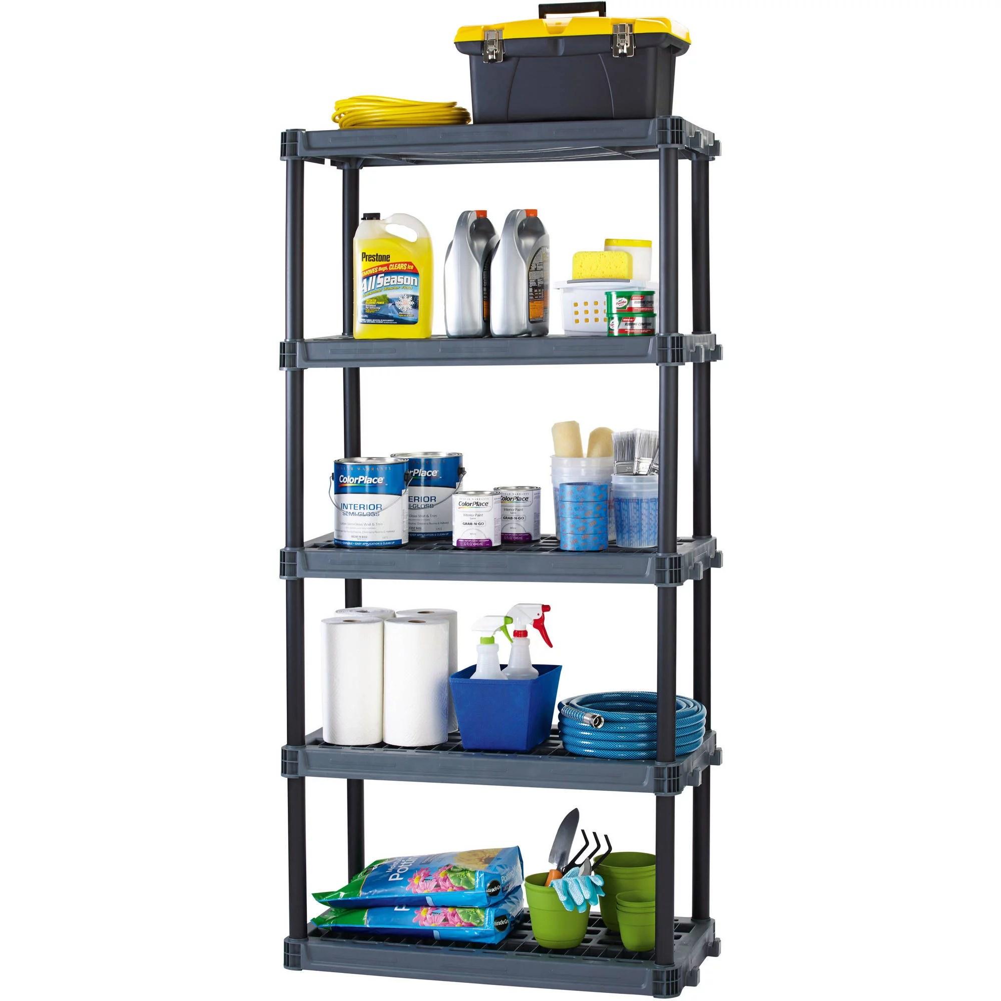 workchoice 5 shelf heavy duty plastic storage unit black walmart com