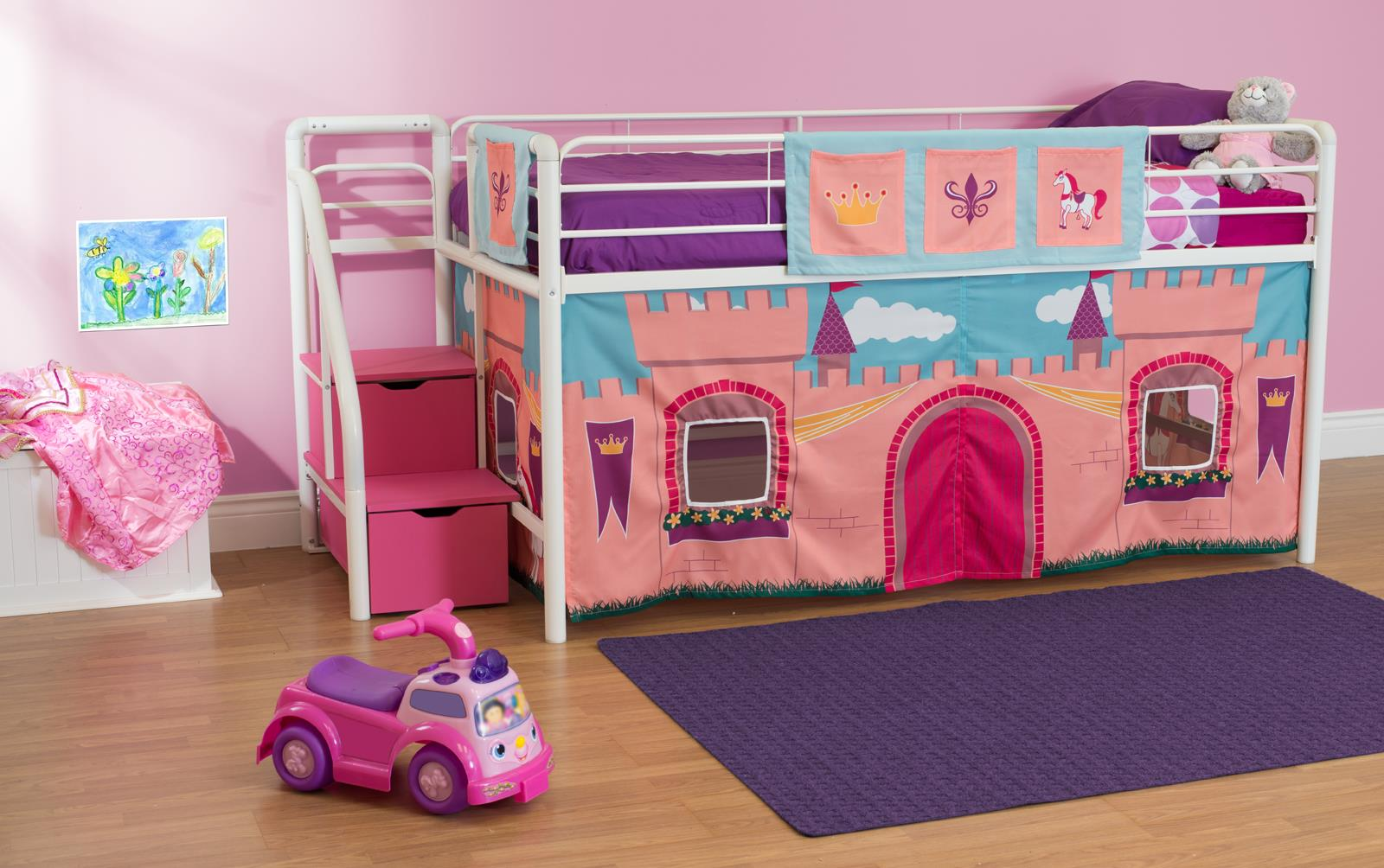 dhp junior metal loft bed with storage steps and princess castle curtain set twin white pink