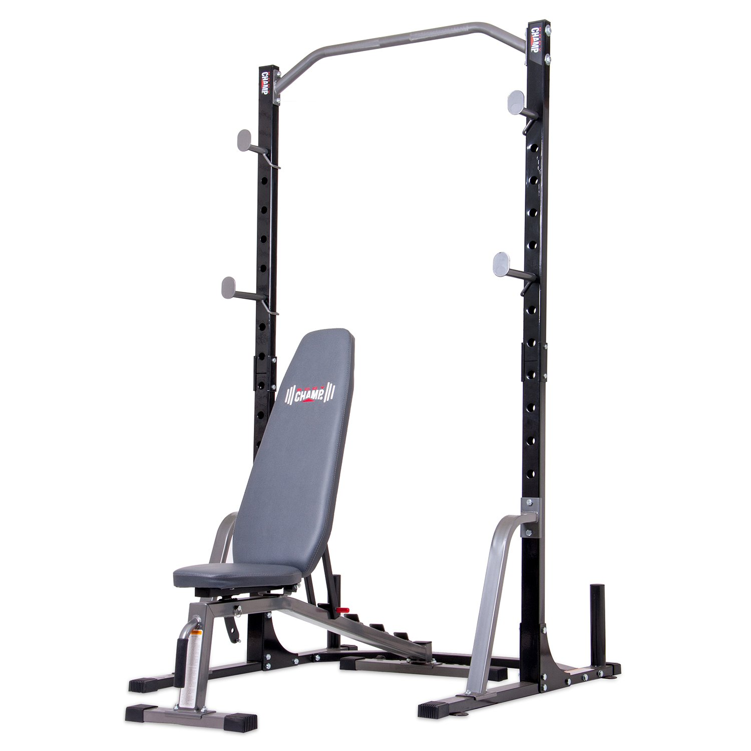 body champ pbc530 power rack system with olympic weight plate storage and bench
