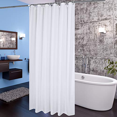 aoohome extra wide shower curtain 108x72 inch fabric pretty bathroom curtain with hooks for hotel weighted hem washable waterproof white