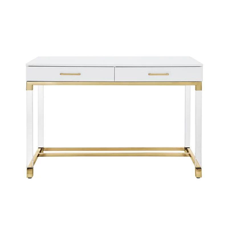 posh briar 2 drawer metal writing desk with acrylic legs in white gold walmart com