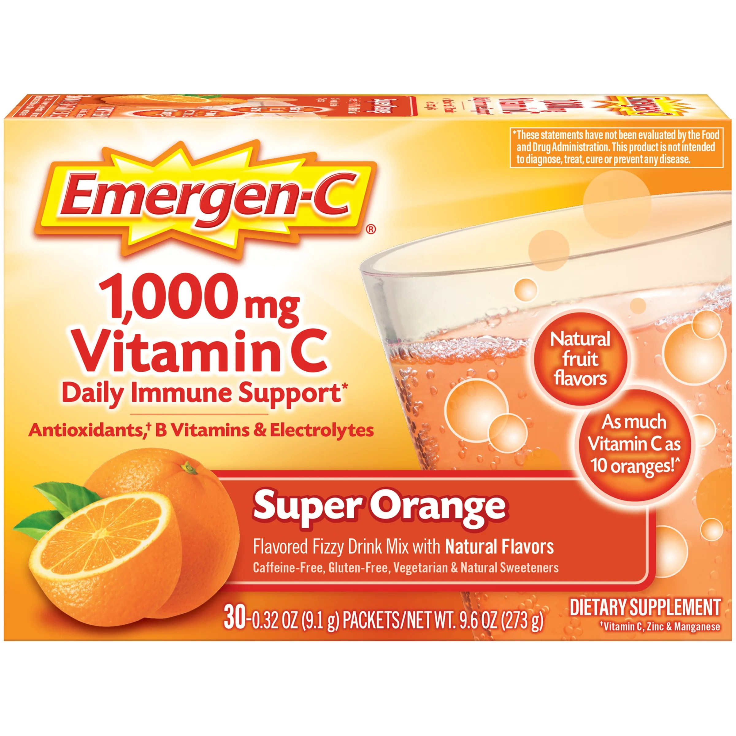 Emergen-C 1000mg Vitamin C Powder, with Antioxidants, B Vitamins and Electrolytes for Immune Support, Caffeine Free Vitamin C Supplement Fizzy Drink Mix, Super Orange Flavor – 30 Count/1 Month Supply