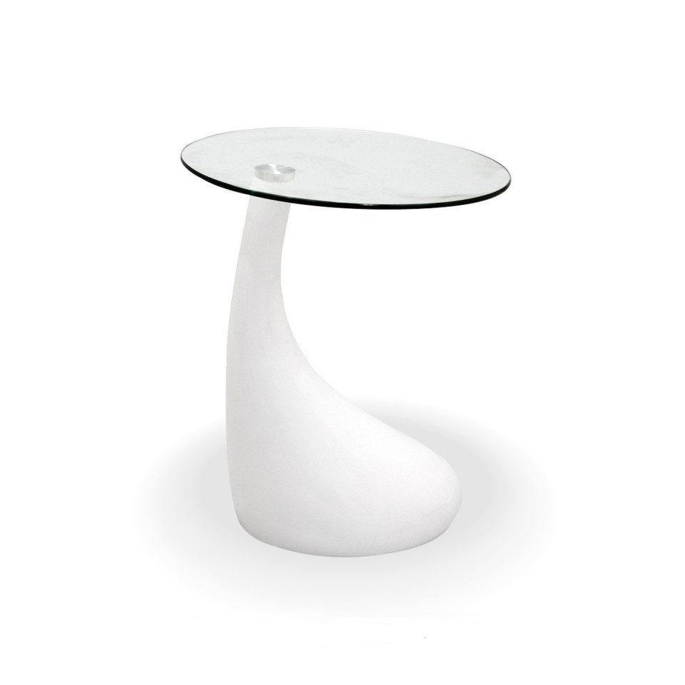 teardrop side table white color with 18 inch round glass top