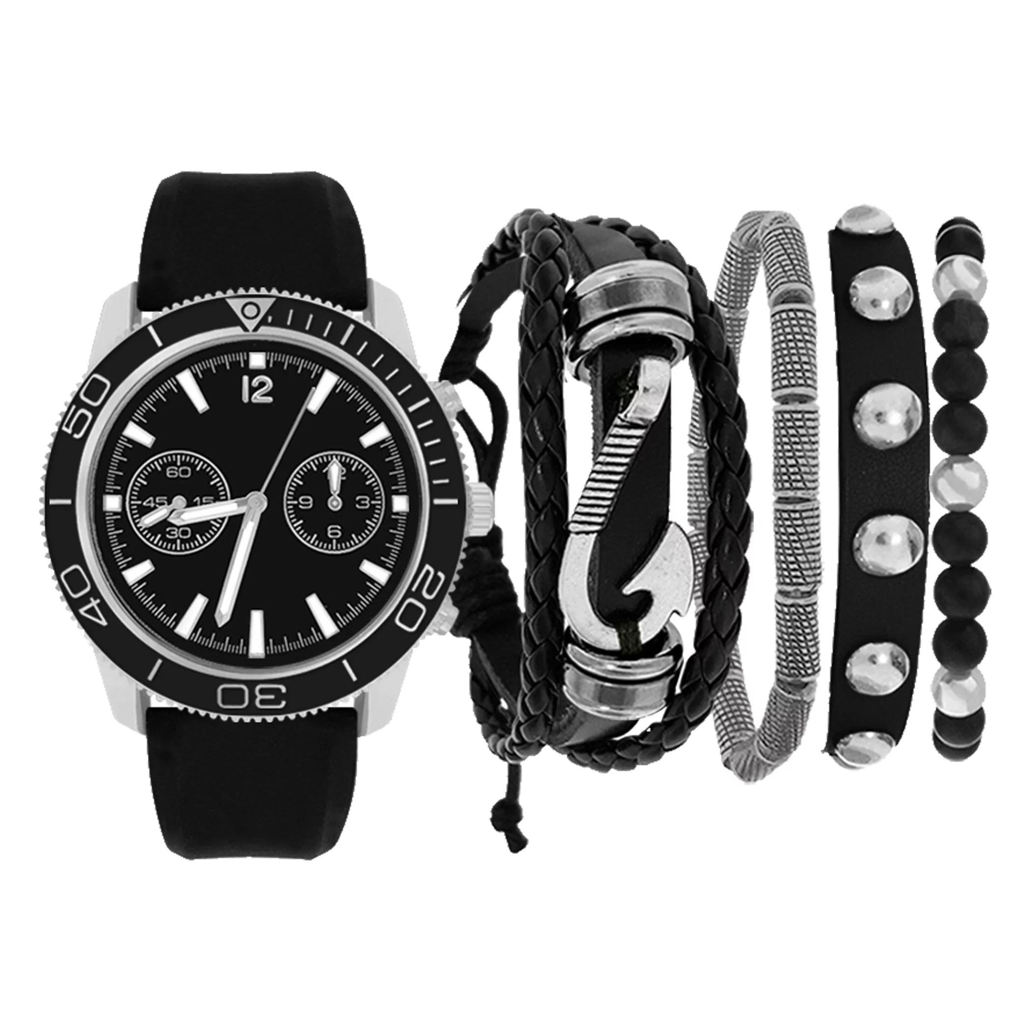 men s holiday watch and bracelet set black