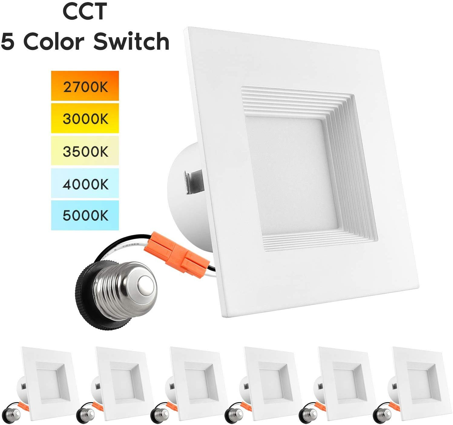 luxrite 4 square recessed led can lights 5 color selectable dimmable 750 lumens wet rated baffle trim 6 pack walmart com