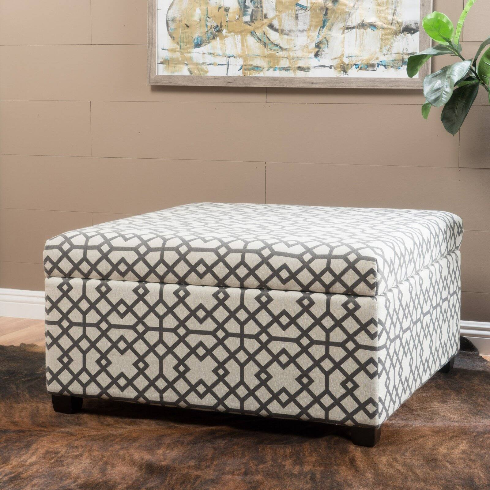 tempest geometric patterned fabric storage ottoman