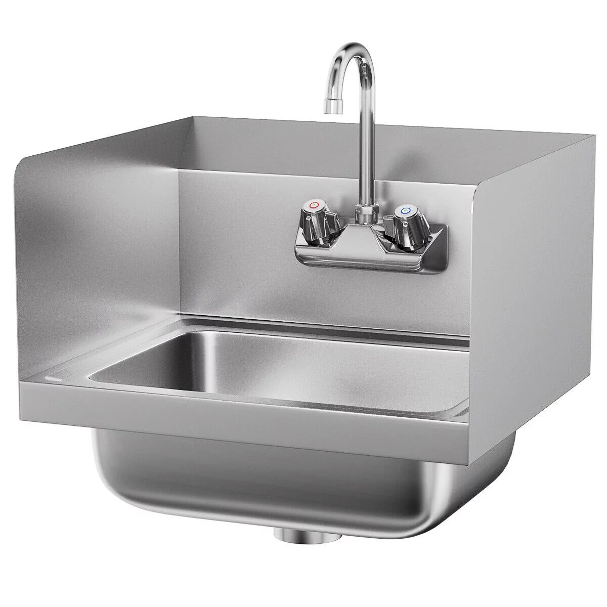 costway stainless steel hand washing sink nsf commercial with faucet and side splashes