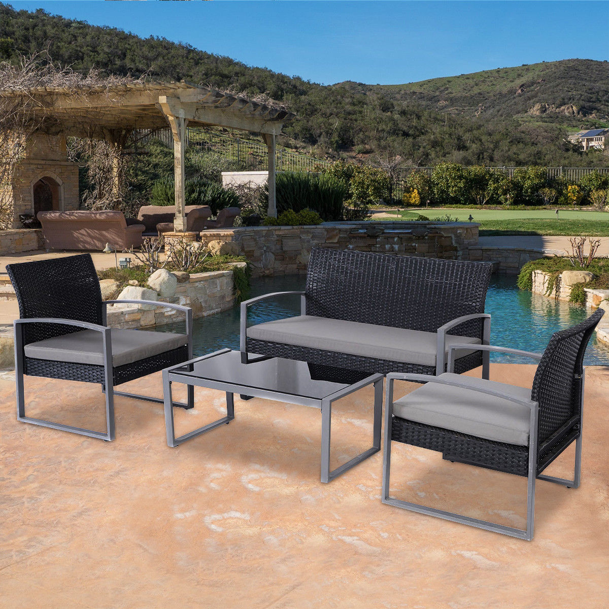 walmart wicker patio furniture sets Costway 4 PCS Outdoor Patio Garden Black Rattan Wicker
