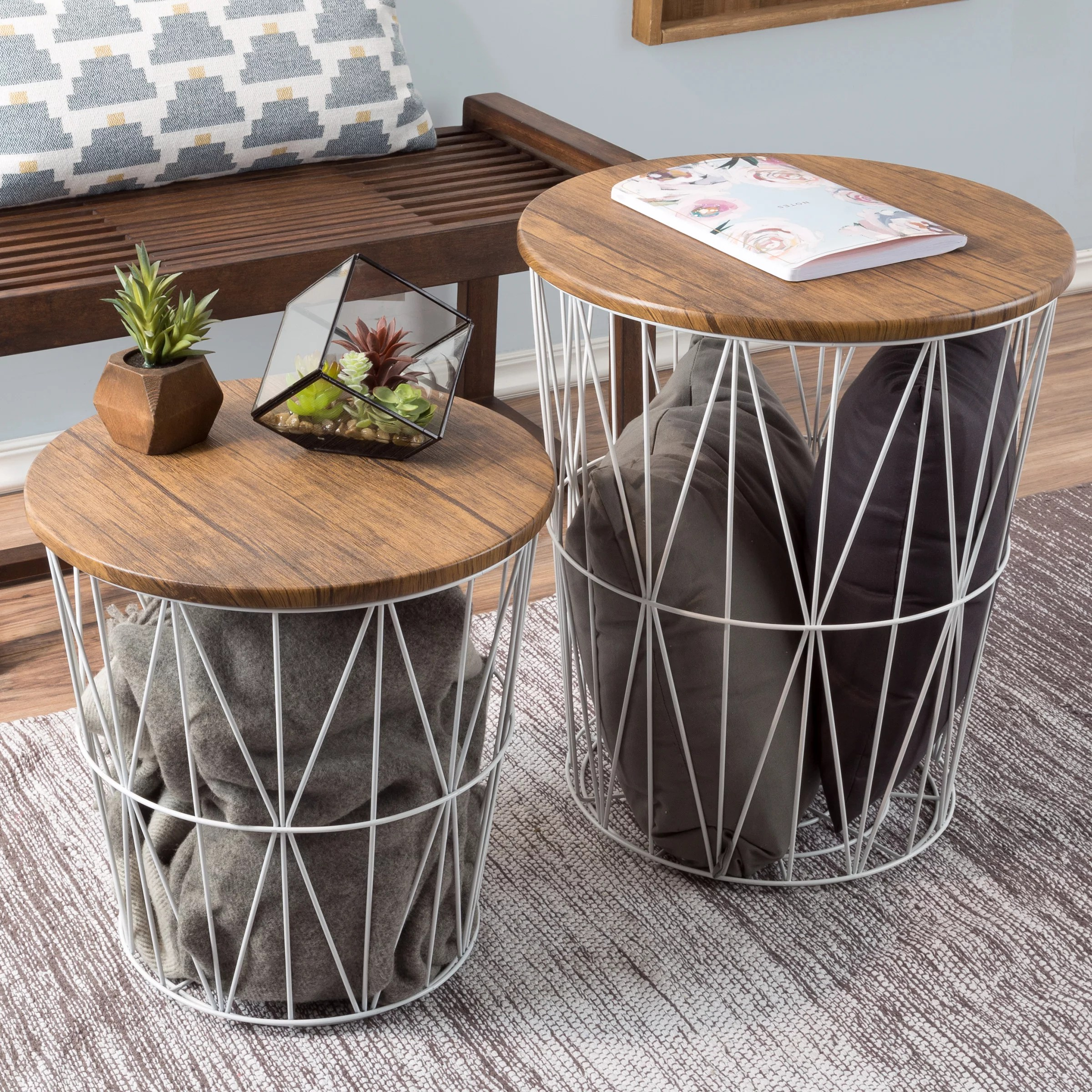 nesting end tables with storage set of 2 convertible round metal basket veneer wood top accent side tables for home and office by lavish home white
