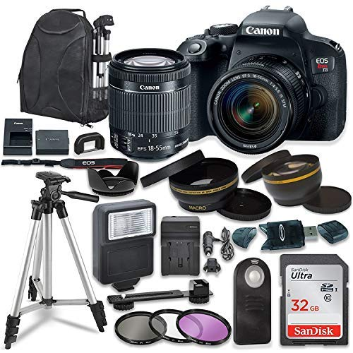 Canon EOS Rebel T7I Digital SLR Camera with Canon EF-S 18-55mm is STM Lens + Sandisk 32GB SDHC Memory Card, Backpack and Accessory Bundle