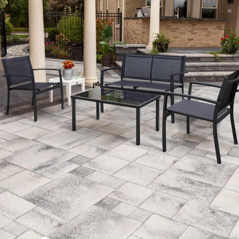 walnew 4 pieces patio furniture outdoor furniture outdoor patio furniture set textilene bistro set modern conversation set black bistro set with