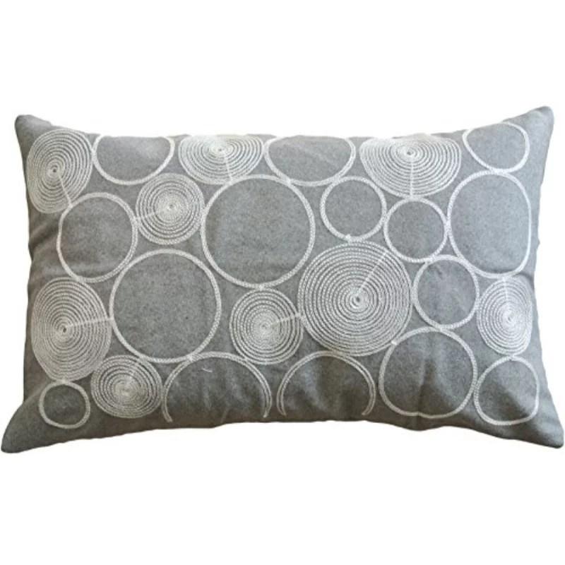 circles embroidery decorative throw pillow cover 20x12 grey white walmart com