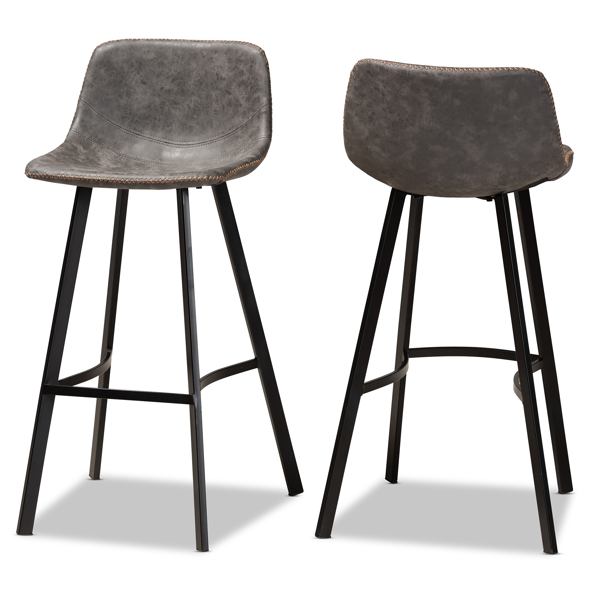baxton studio tani rustic industrial grey and brown faux leather upholstered black finished 2 piece metal bar stool set walmart com