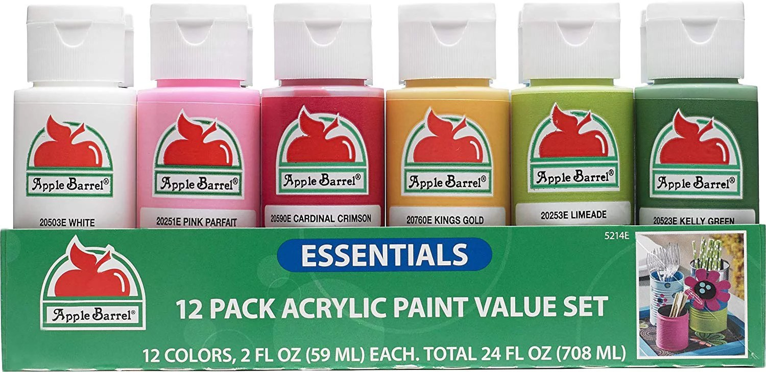 Apple Barrel Acrylic Paint Essentials Paint Set, 12 Colors