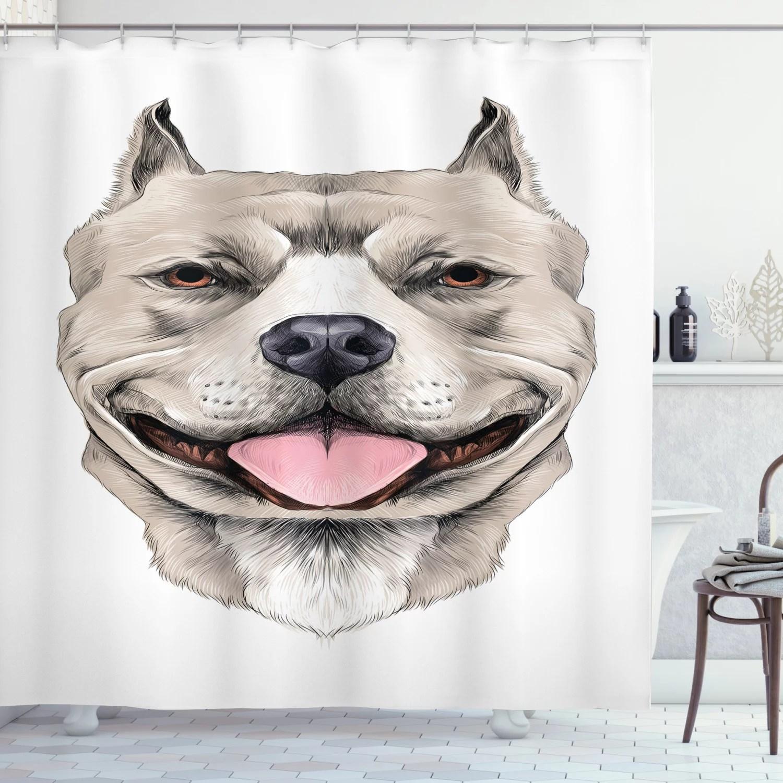 pitbull shower curtain american pit bull terrier realistic head sketch domestic canine animal portrait fabric bathroom set with hooks 69w x 75l