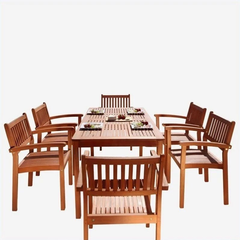 malibu outdoor 7 piece wood patio dining set with stacking chairs walmart com