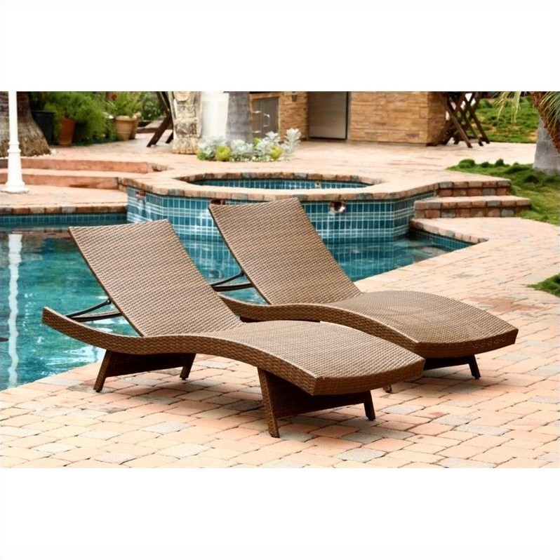 abbyson palermo outdoor wicker chaise in brown set of 2 walmart com