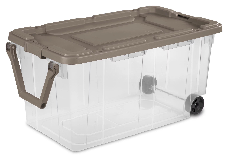 Sterilite 160 Qt. Wheeled Storage Box Taupe Splash Case of 2