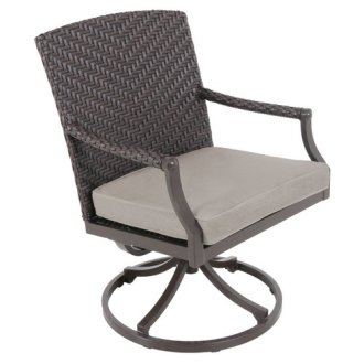 Red Barrel Studio Kanzler Aluminum Outdoor Wicker Swivel Patio     Red Barrel Studio Kanzler Aluminum Outdoor Wicker Swivel Patio Dining Chair  with Cushion  Set of