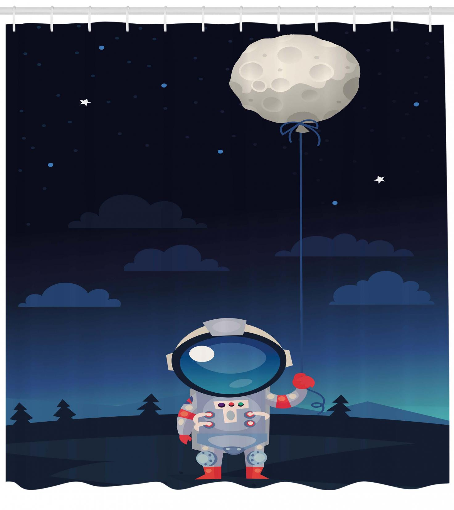 Space Shower Curtain Astronaut in Spacesuit Holding a