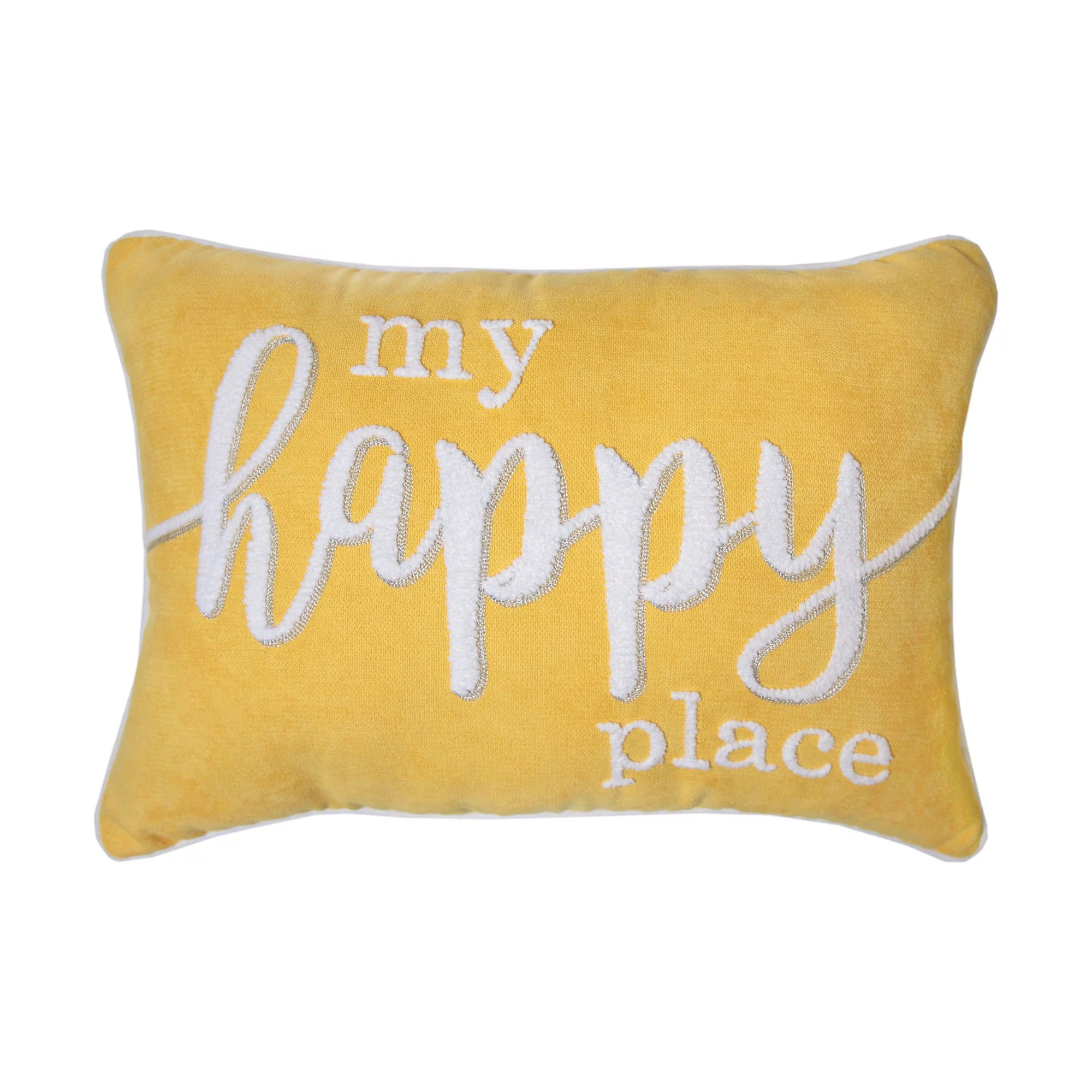 better homes gardens decorative throw pillow my happy place oblong yellow 14 x 20 1pack