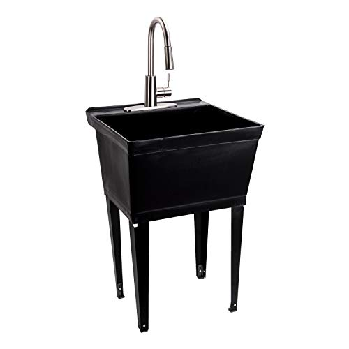 black utility sink laundry tub with high arc stainless steel kitchen faucet by maya pull down sprayer spout heavy duty slop sinks for washing room