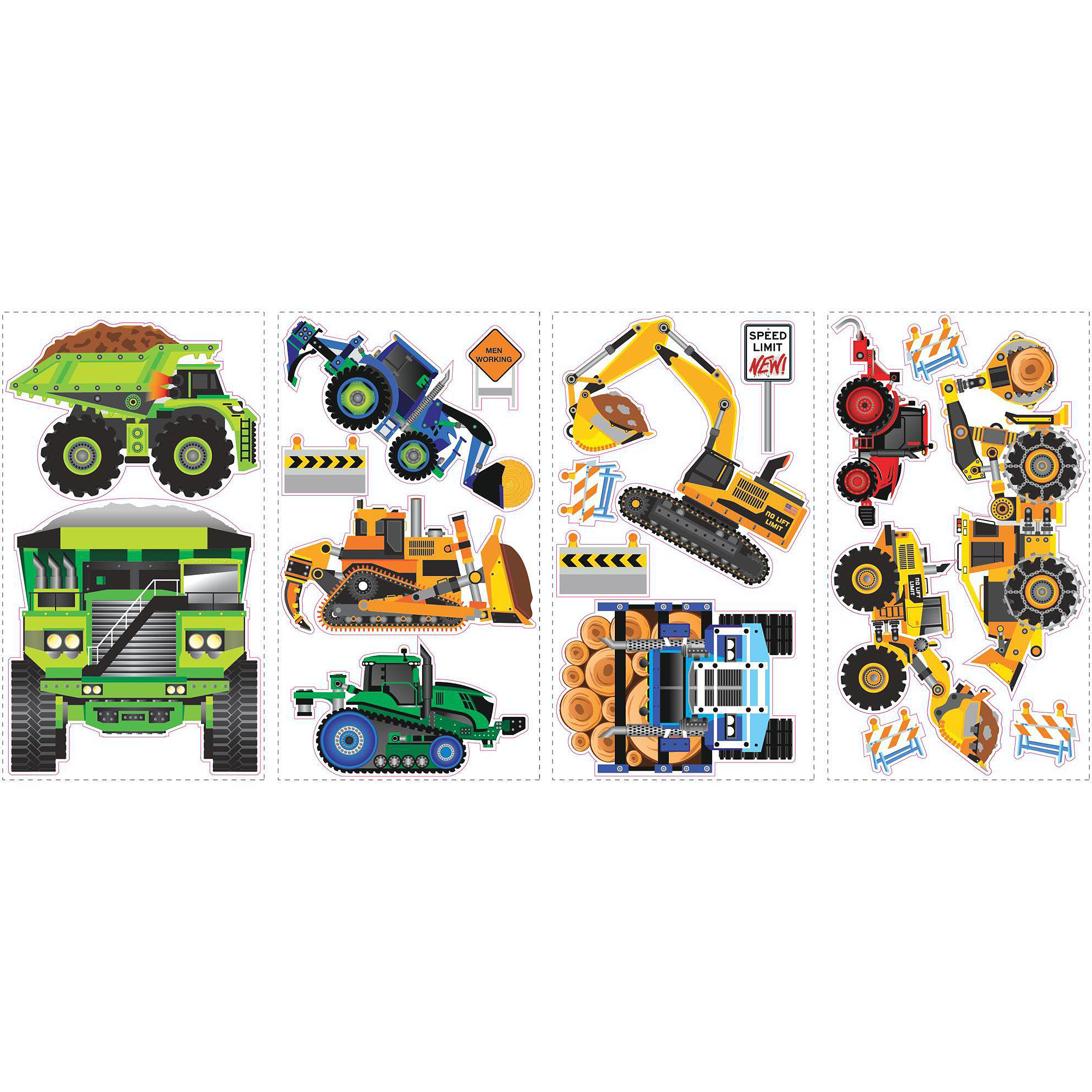 Construction Vehicles Peel And Stick Wall Decals