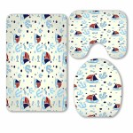 Pkqwtm Set Of Cute Nautical Elements 3 Piece Bathroom Rugs Set Bath Rug Contour Mat And Toilet Lid Cover Walmart Com Walmart Com