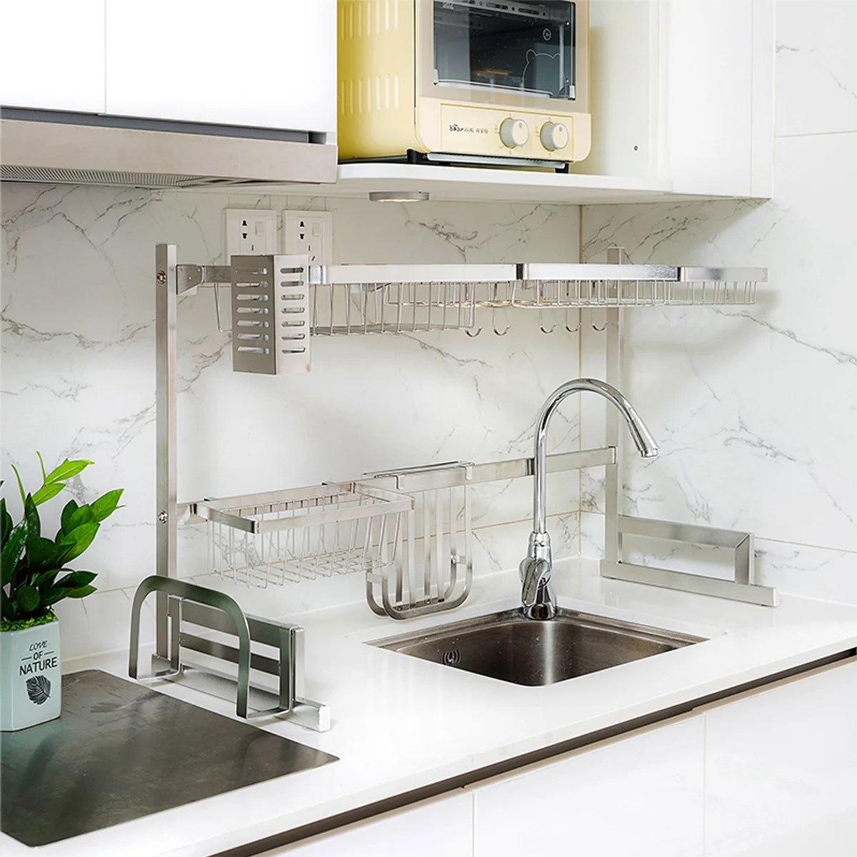 dish drying rack over sink stainless steel drainer shelf kitchen cutlery holder utensils holder display stand over the sink shelf storage rack for