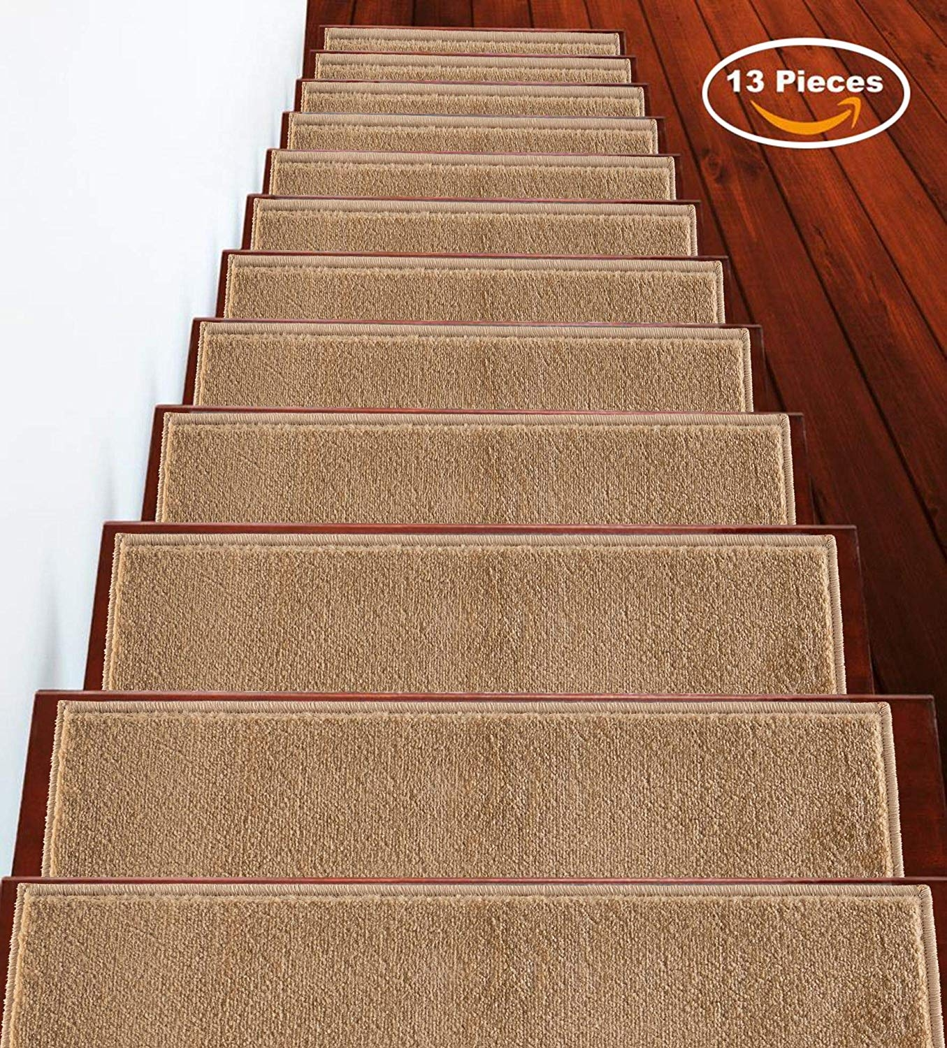 Sussexhome Stair Runner Carpet Beige Carpet 9 X 28 7 Set   Carpet On Stairs Only   Concept   Line Carpet Staircase Double   Pinstripe Grey   Grey   Wood