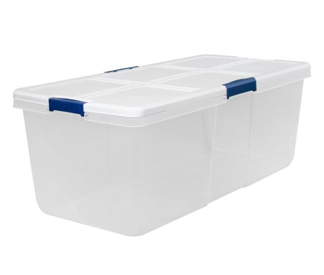 Hefty Modular Clear Storage Bins 100 Qt Xl Stackable Bin With Latch White Navy Walmart Com