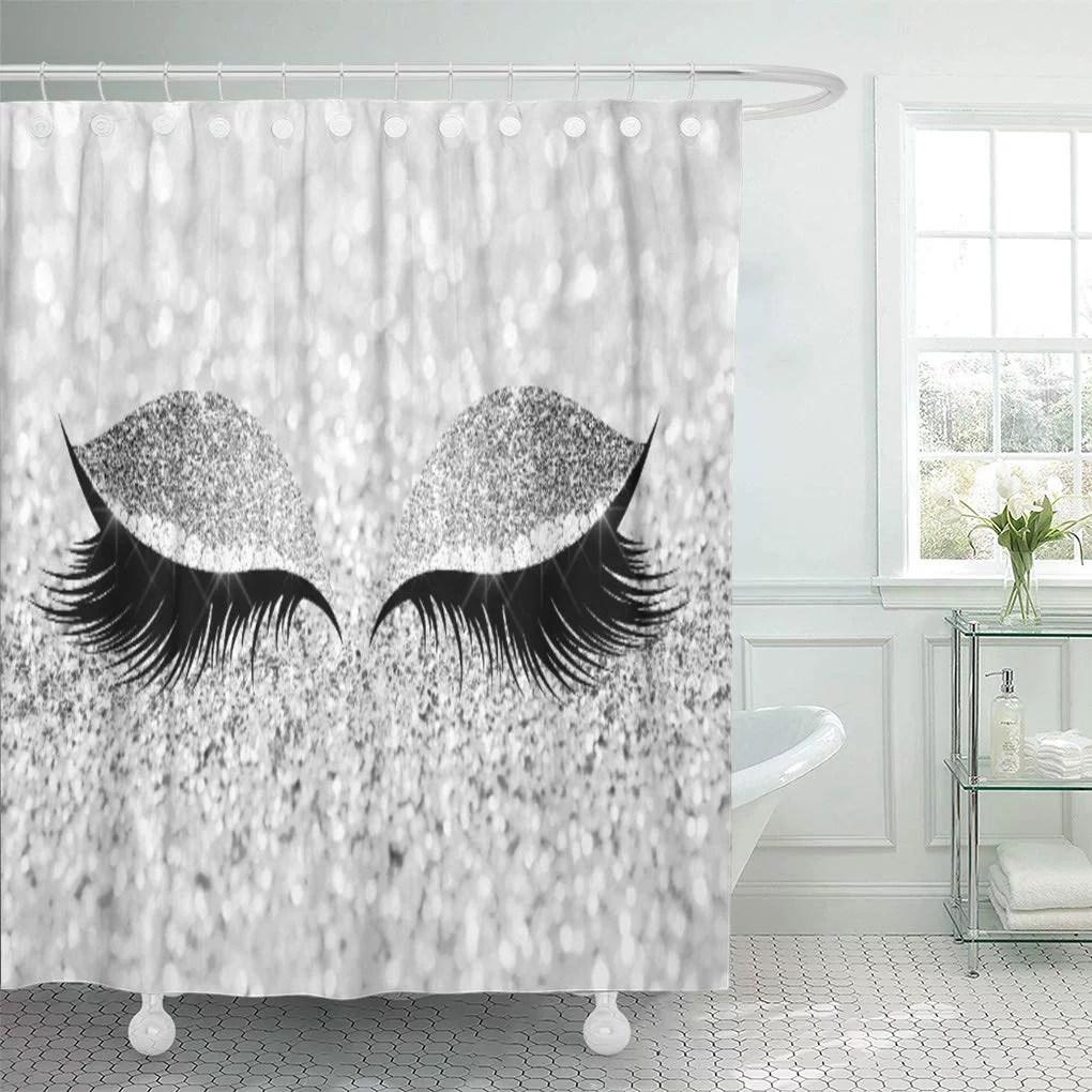 cynlon gray sparkly black makeup eye lashes silver diamond sleep bathroom decor bath shower curtain 66x72 inch walmart com