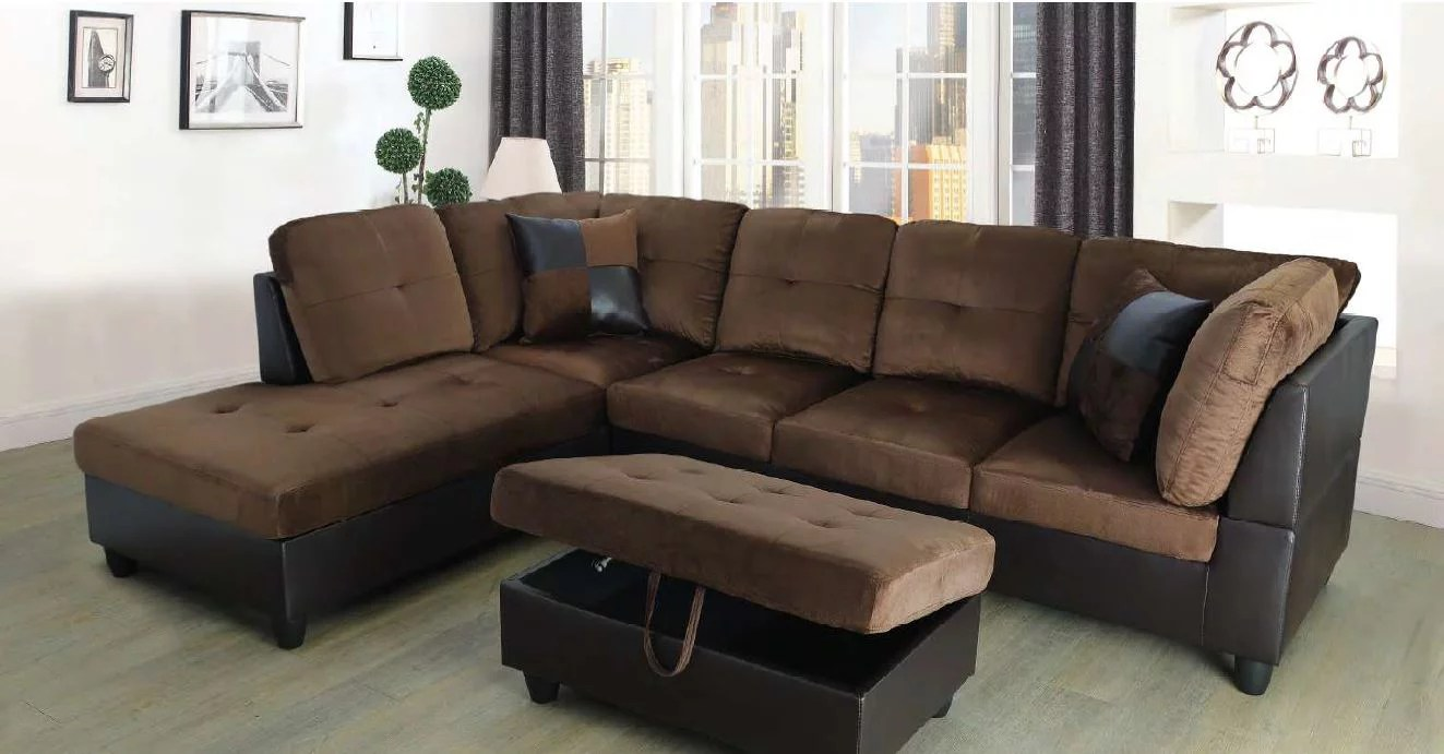 hermann left chaise sectional sofa with storage ottoman chocolate brown microfiber