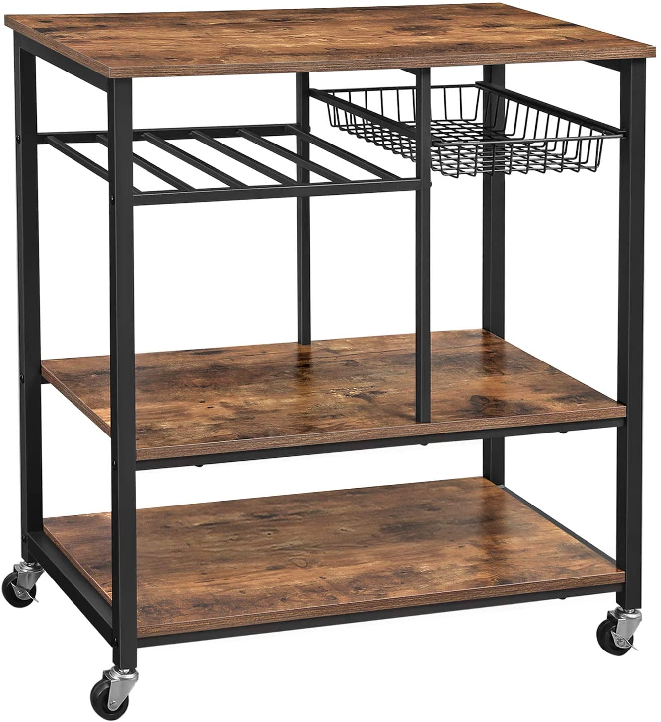 vasagle alinru kitchen cart kitchen baker s rack utility storage shelf with bottle holder industrial microwave stand rustic brown ukks80x
