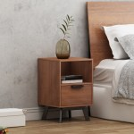 Mainstays Mid Century Modern 1 Drawer Nightstand Multiple Finishes Walmart Com Walmart Com