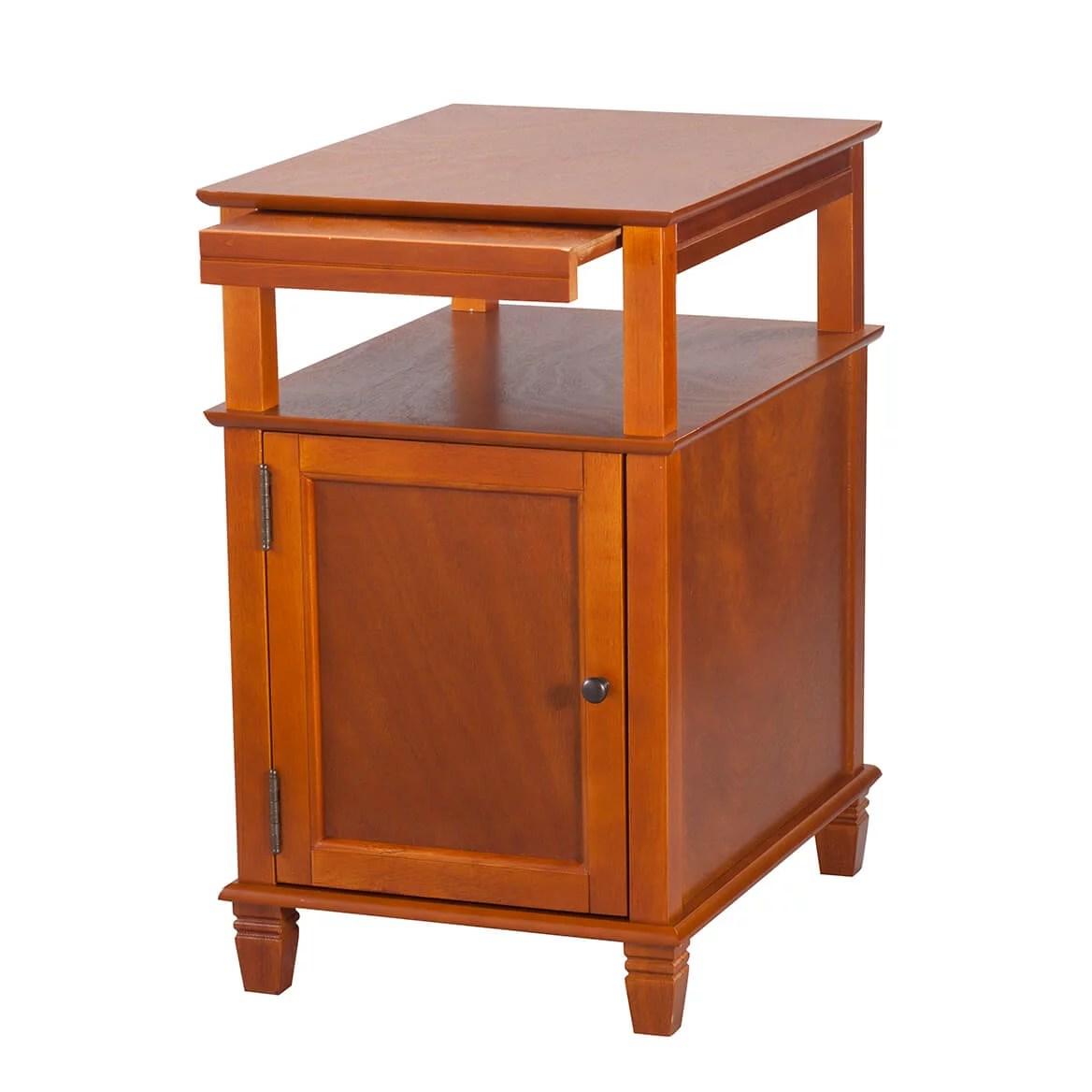 miles kimball appleton recliner table by oakridge with slide out shelf honey
