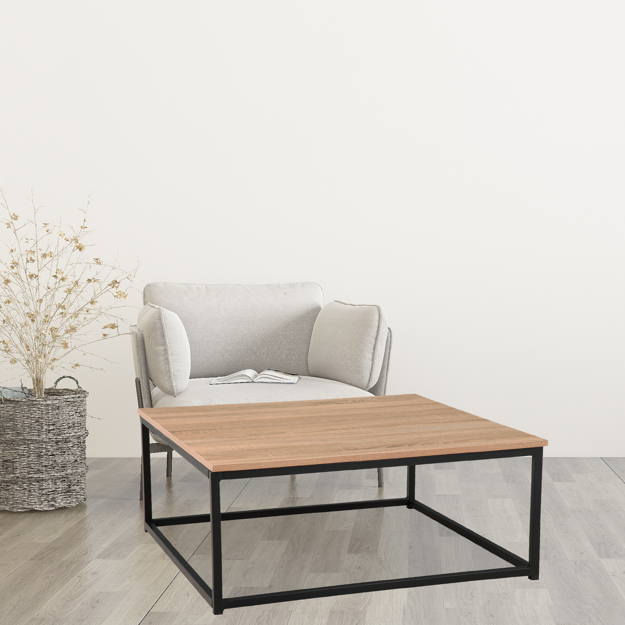 Coffee Tables For Living Room Modern Industrial Coffee Table With Metal Box Frame Accent Cocktail Table Sturdy End Tables For Home Bedroom Dining Room Cafe 31 5 Lx31 5 Wx13 39 H Oak W13014 Walmart Com Walmart Com
