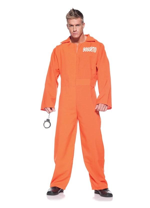Orange Prison Jumpsuit Adult Halloween Costume One Size