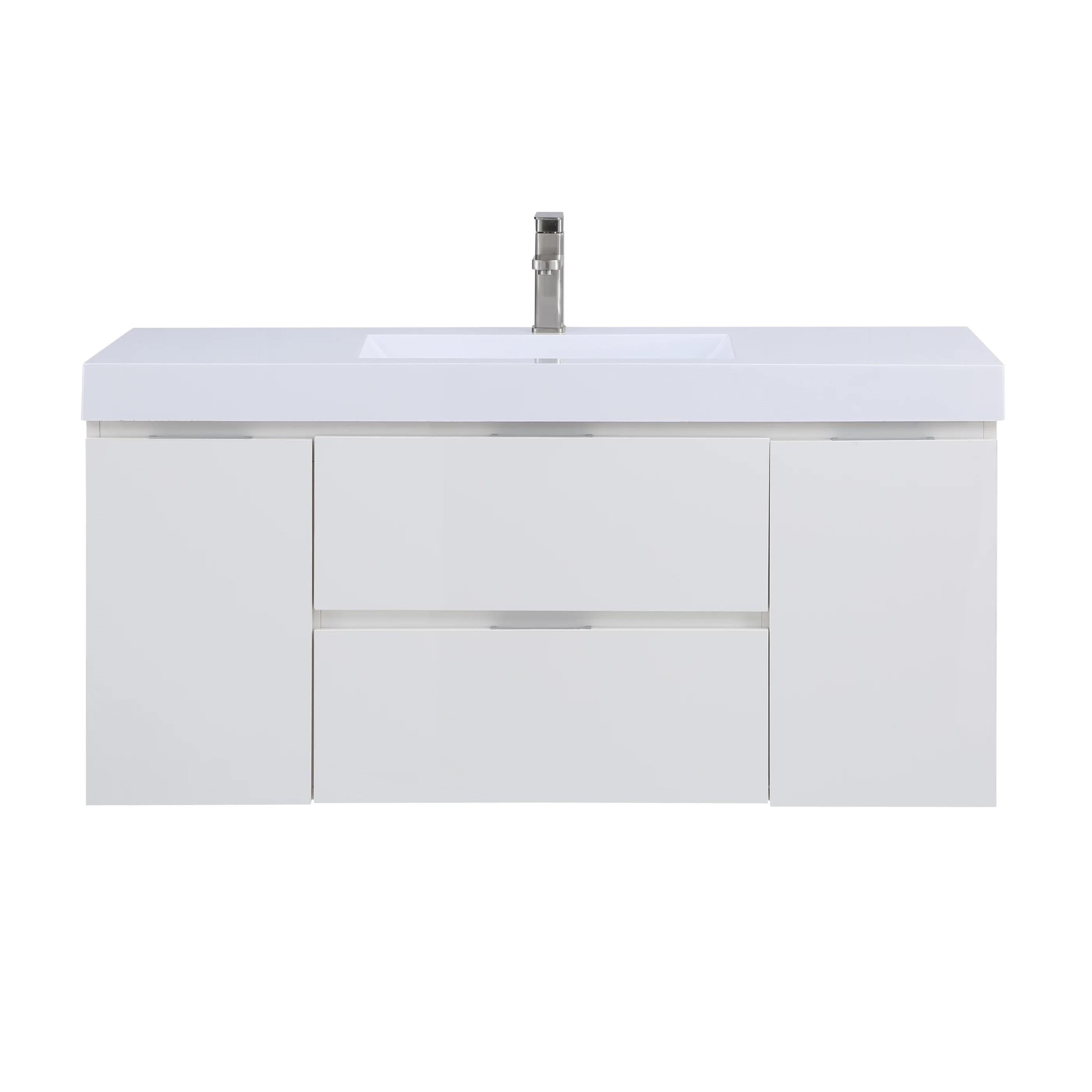 stufurhome helena gloss white 49 inch wall mounted single sink bathroom vanity no mirror walmart com
