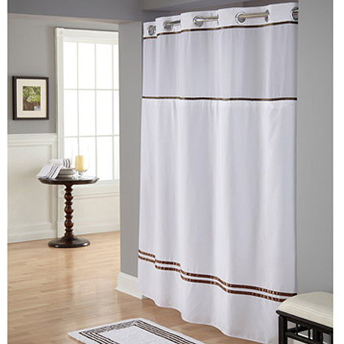 hookless white brown polyester shower curtain