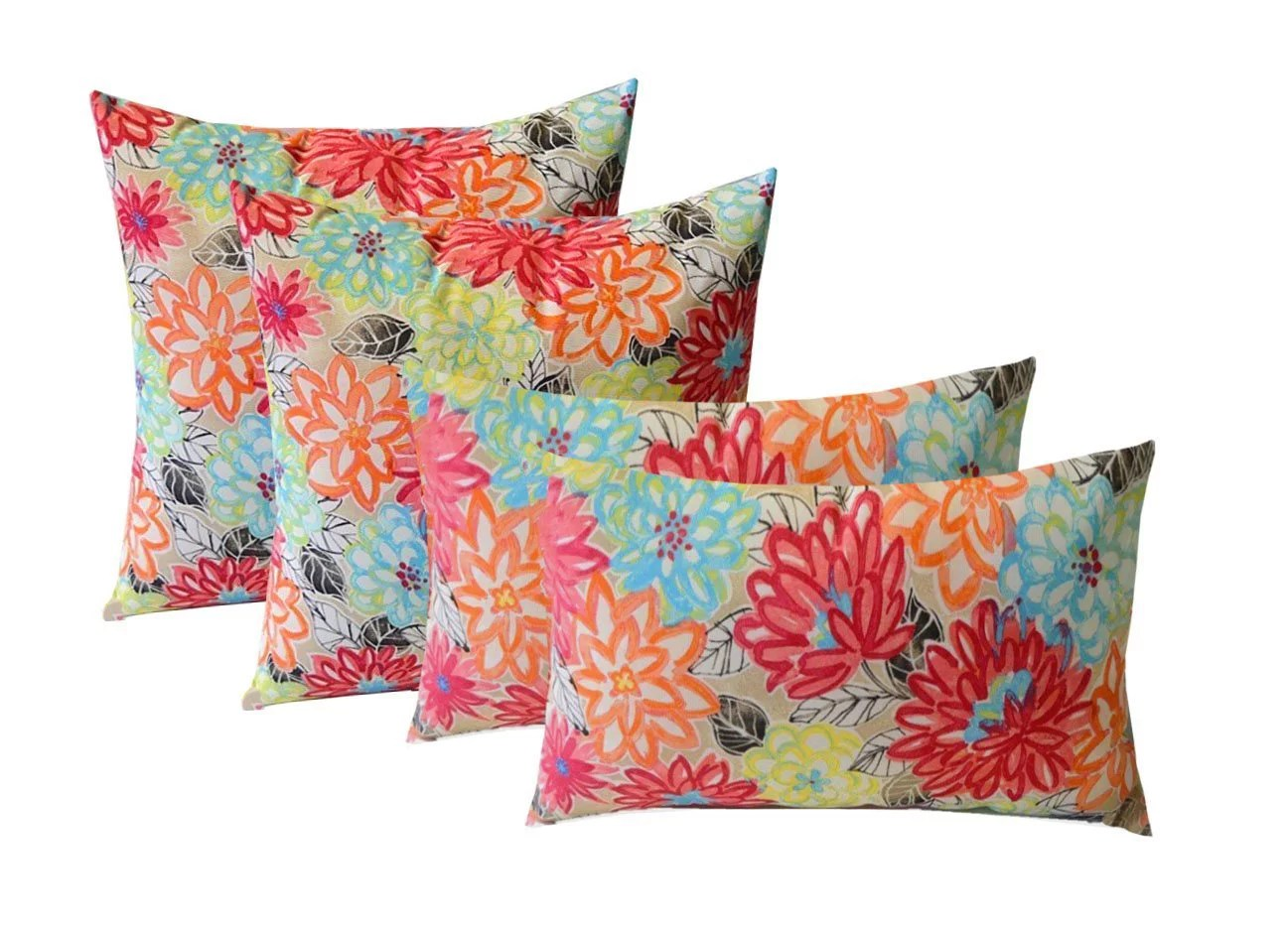 rsh decor indoor outdoor set of 4 square throw pillows weather resistant 17 x 17 and 20 x 12 pink yellow orange blue artistic floral