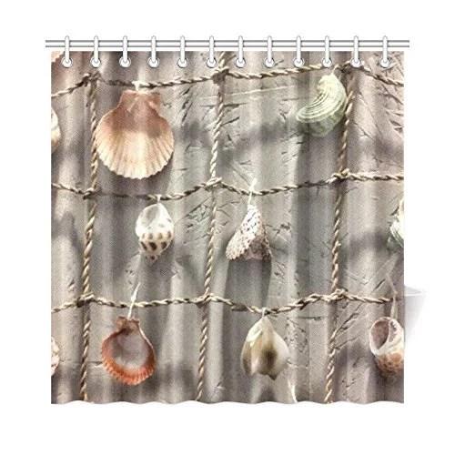 bpbop seashell bathroom waterproof fabric shower curtain 66x72 inches