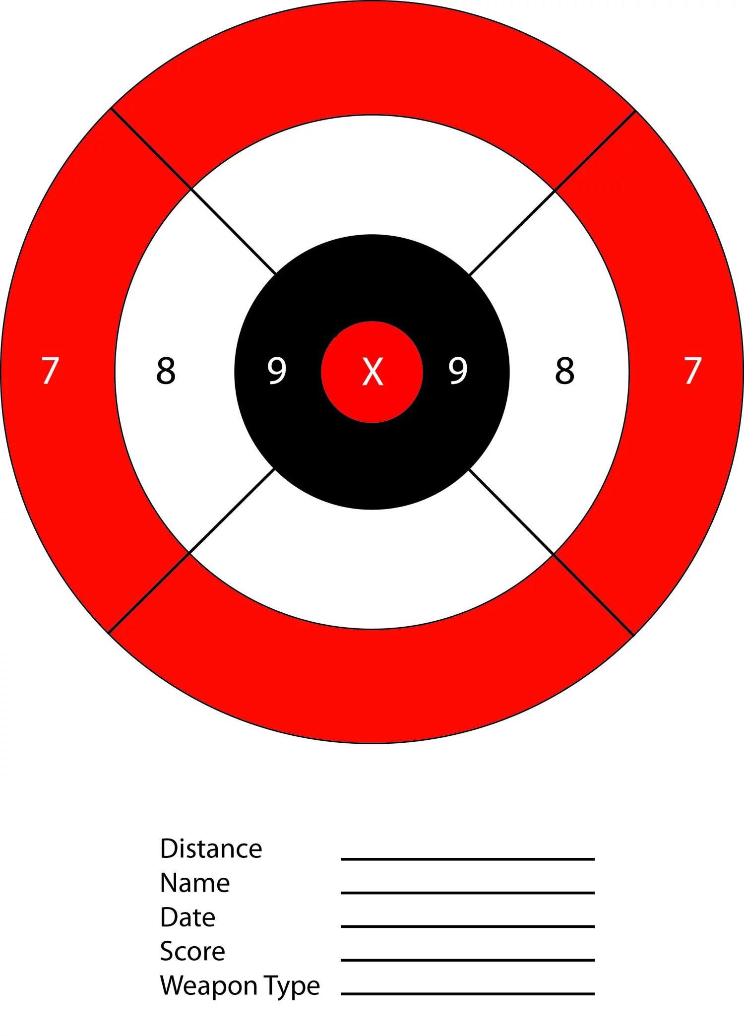 Red Amp Black Bullseye Paper Shooting Range Targets