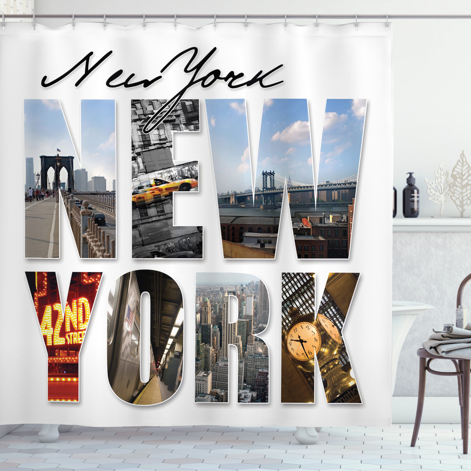 nyc decor shower curtain set new york city themed collage featuring with different areas of the big apple manhattan scenery bathroom accessories