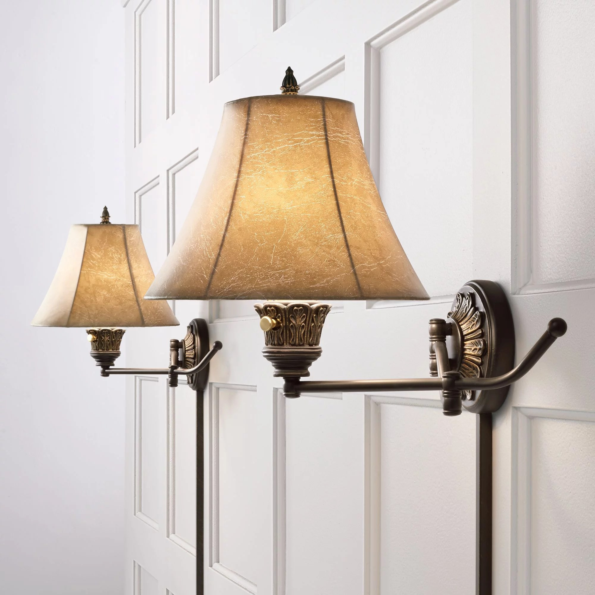 Barnes and Ivy Swing Arm Wall Lights Plug In Set of 2 ... on Plugin Wall Sconce Lights id=53618