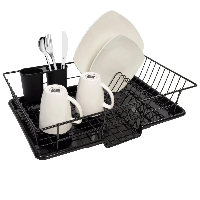 sweet home collection 3 piece kitchen sink dish drainer set black walmart com